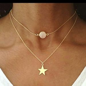 Dainty gold star rose quartz layered necklace